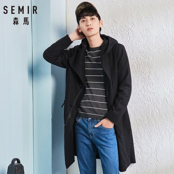 SEMIR Men woolen cloth Wool Coat Especially Long Mens Trench Hooded For Fashion Jackets Jacket S Cotton man Autumn Parka Costume