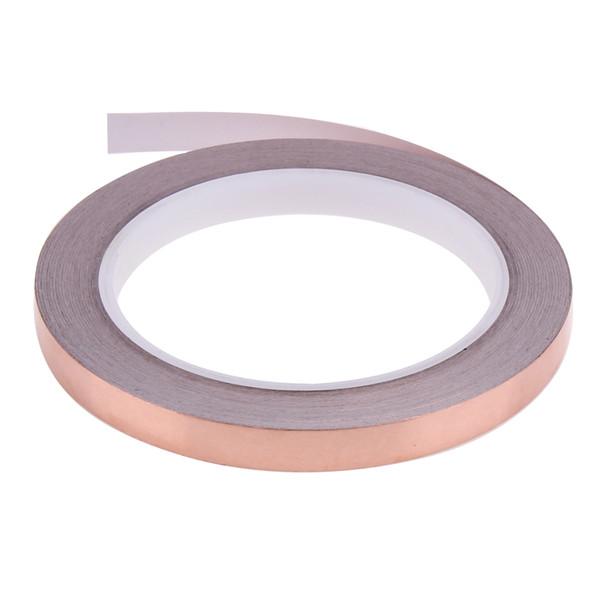 top popular 20m 10mm Copper Foil Stained Glass Foil Tape for EMI Shielding Slug Repellent Electrical Repair Waterproof Single Conductive 2021