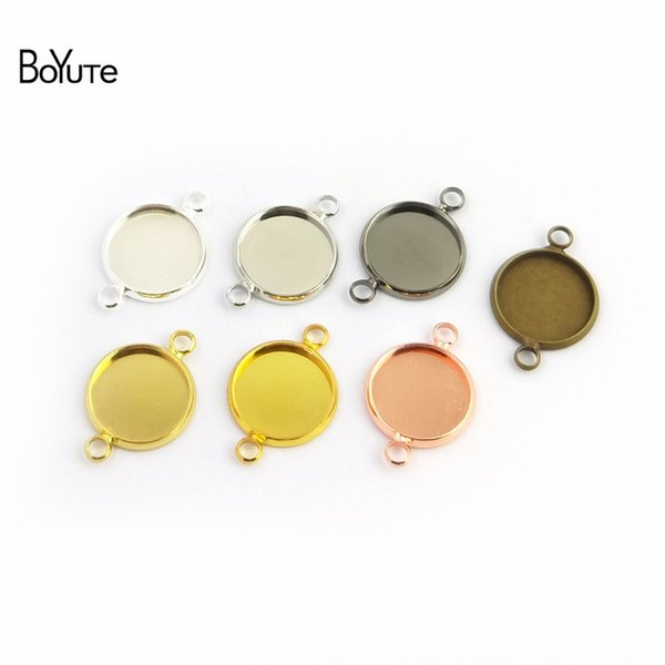 BoYuTe 50Pcs Round 10-12-14-16-18-20-25MM Cameo Cabochon Base Setting Diy Connector Charms Blank Tray Jewelry Findings (Antique Bronze)