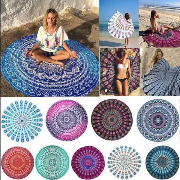 Polyester Round Beach Towel Hippie Mandala tapestry Boho Hippie Indian Tablecloth Yoga Mat Sunscreen Shawl Wrap Indian Mat Picnic KKA4234