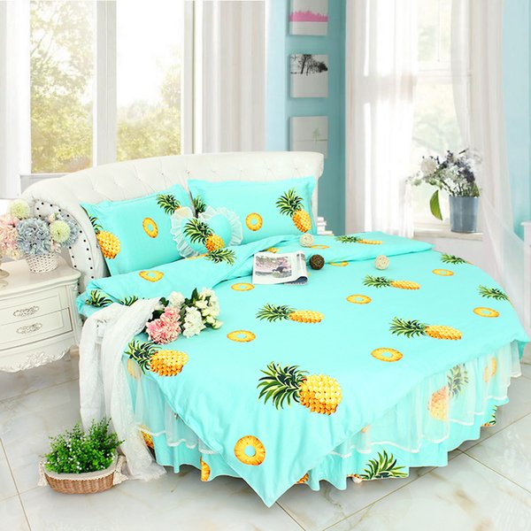 Sweet Fruit pineapple Printed Round Bed Bedding sets super King SIZE 8feet Ruffle Bedding Duvet Cover Bedskirt pillow case Sets