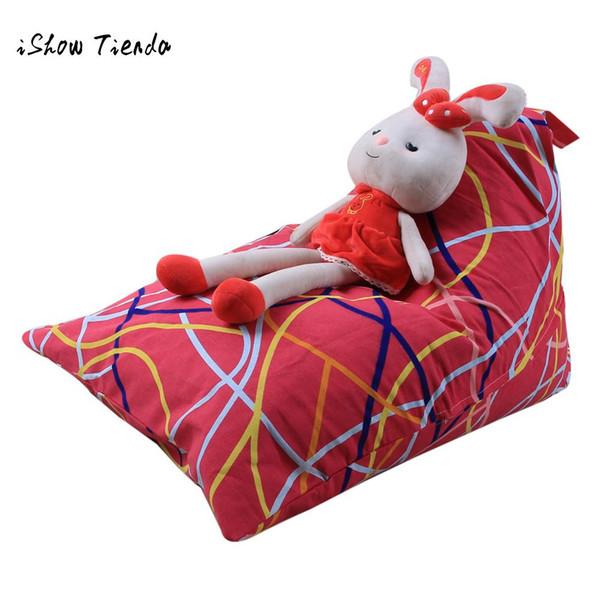 Toy Storage Bag Kids Stuffed Animal Plush Toy Storage Bean Bags New Creative Modern Cartoon print Soft Pouch Stripe Fabric Chair