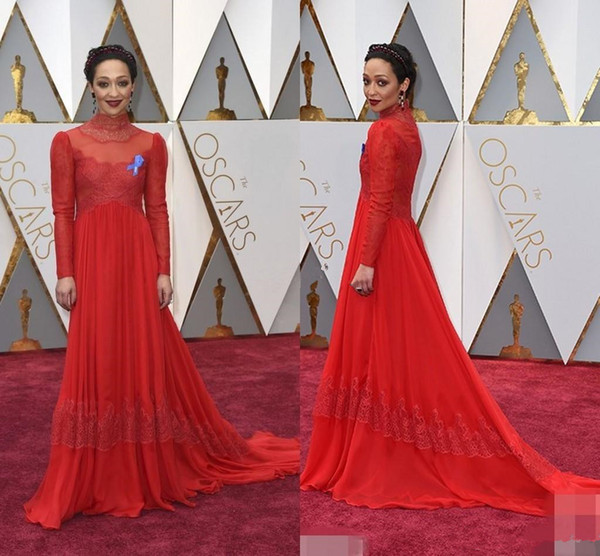 89th Annual Academy Awards Ruth Negga Red Lace Celebrity Dresses Royal High Neck Long Sleeve Floor Length Red Carpet Dresses Cheap For Sale