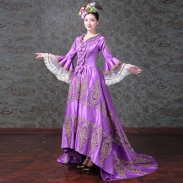 Victorian Southern Belle Vintage Alice in Wonderland Purple Embroidery Dress Princess Theater Reenactment Clothing Women Lace Dresses F328