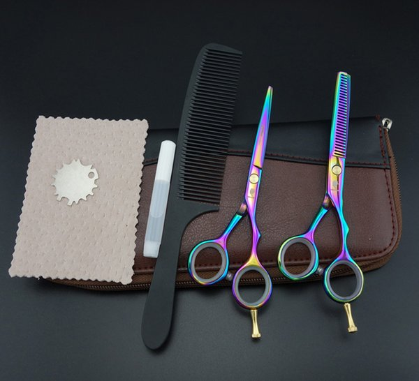 5.5 in. Professional Hair dressing scissors set Cutting+Thinning Barber shears 2 pcs set+case+comb S343