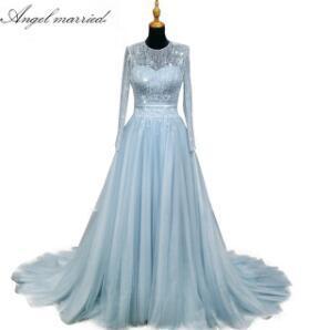 Angel married Evening Dresses elegant blue formal dress long sleeve women pageant gown 2018 vestido de festa robe de soiree