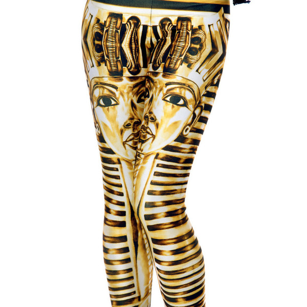 Woman Girl Fitness Sexy Pants New Star Digital Print Gold Egyptian Pharaoh 3D Printed Gloss Pencil Pants Slim Elastic Workout Tight Leggings