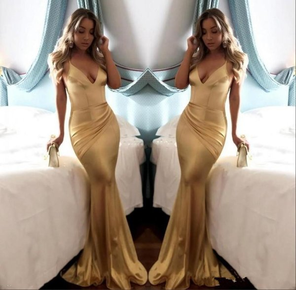 2018 Cheap Simple Soft Satin Sexy V Neck Gold Mermaid Prom Dresses Backless Draped Spaghetti Strap Long Party Dress Evening Wear Custom Mad