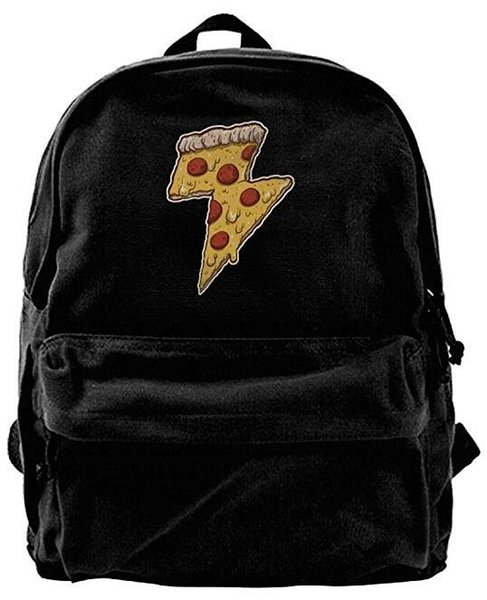 Thunder Cheesy Pizza Canvas Shoulder Backpack Latest Mountain Backpack For Men & Women Teens College Travel Daypack Black