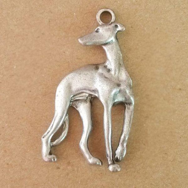 3D Bronze Greyhound Charm  Earrings Whippet IG