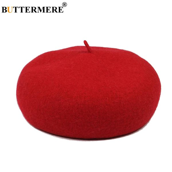 BUTTERMERE French Beret Woman Red Wool Flat Hat Female Elegant Warm Painters Hat Thick Casual Autumn Winter Classic Artist Cap