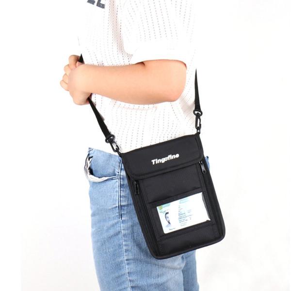 Outdoor RFID Anti-theft Security Wallet Neck Pouch Travel Strap Shoulder Bag Cellphone Passport Zipper Bag Card Holder