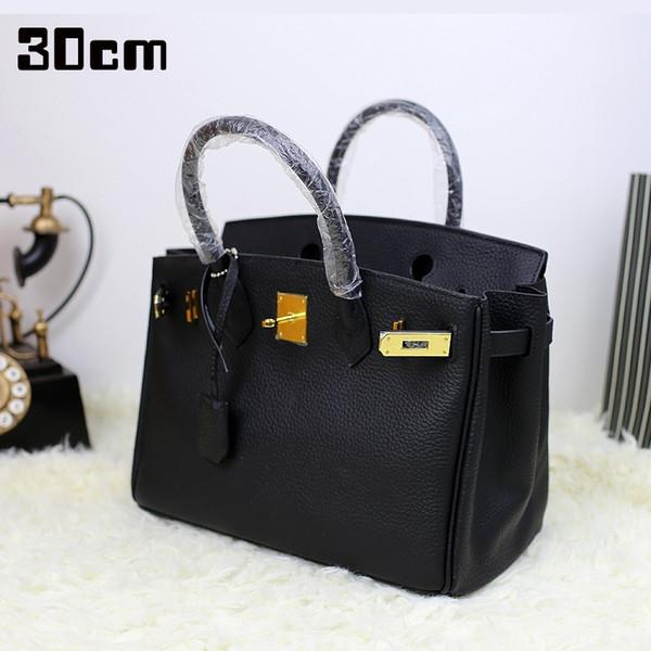 30cm women luxury genuine leather platinum lock handbag shoulder bag real cow leather high quality Lady messenger crossbody bag Y18102604