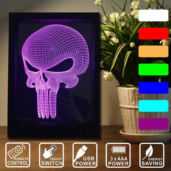 Noche Vision LED De es Punisher Distancia Decoración Luces De De Lámpara Toque 3D La A La Cambiantes Compre El La Máscara Marco Interruptor De Mando 3KlJF1Tc
