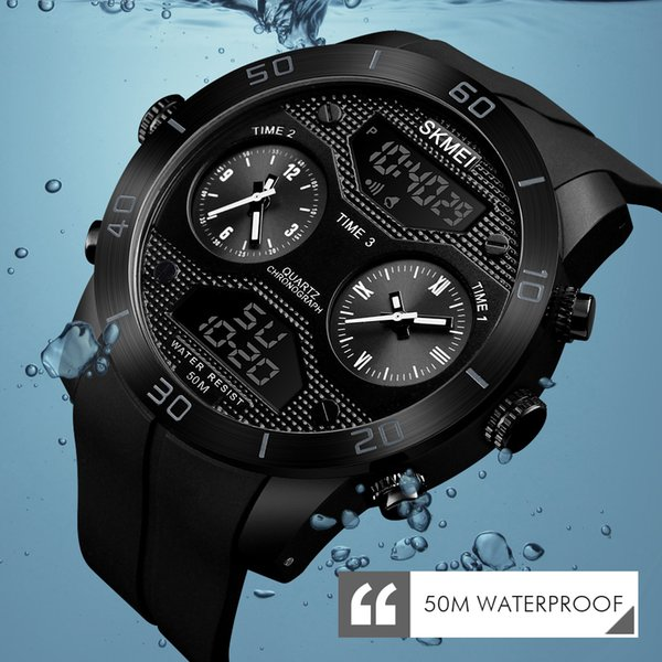 SKMEI Sports Outdoor Watch Men LED Electronic Watch Vibrating Stainles Steel Dual Display Watch Relogio Masculino 1355