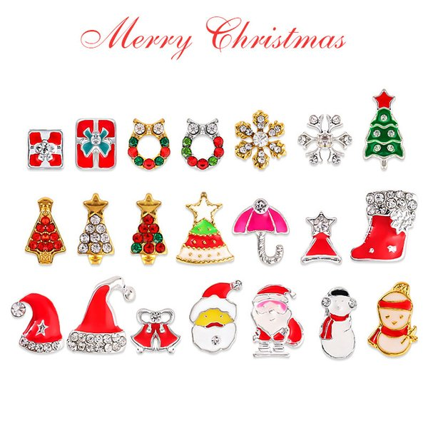 5 pc Diferentes Diamantes de Natal Montado Studs Decorações Da Arte Do Prego De Metal Neve Chapéu De Papai Noel Árvore Sino Manicure DIY Fornecimento Novo