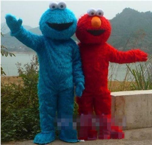 best selling 2018 High quality TWO PCS!! Sesame Street Red Elmo Blue Cookie Monster Mascot Costume, Animal carnival +Free shipping