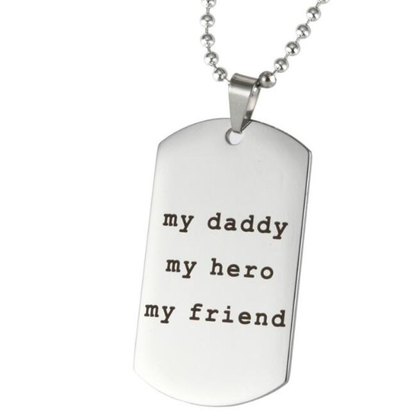Fashion jewelry accessories fine Inspirational My Daddy, My Hero, My Friend hand stamped necklace Stainless Steel Pendant Necklace Jewelry