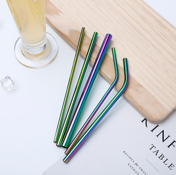 top popular More Size 304 Colorful Stainless Steel Straw Reusable Drinking Straw High Quality Bent Straight Metal Straw Cleaner Brush 2021