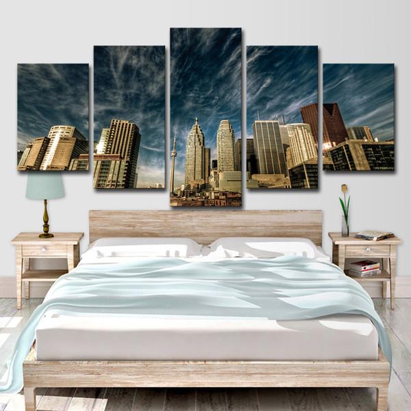 Leinwand Poster Home Decor Wandkunst 5 Stücke Toronto Blue Sky Skyline Gemälde Wohnzimmer HD Drucke Stadt Gebäude Bilder