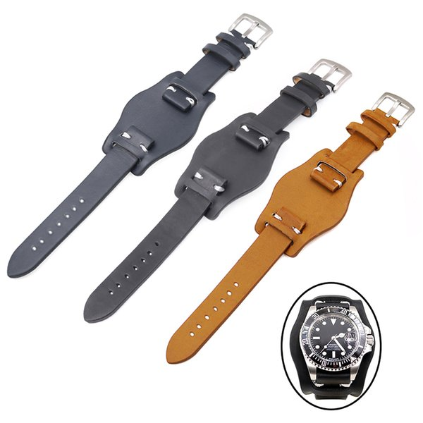 CARLYWET 20mm Black Brown Dark blue Calf Cowhide Leather Replacement Pad Wrist Watch Band Strap Belts with Silver Brushed Buckle
