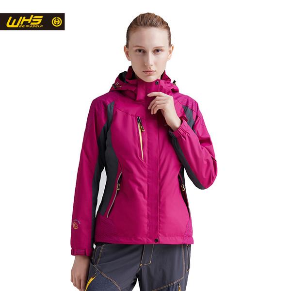 WHS new sport outdoor hiking Camping jacket women clothing spring waterproof windproof two suit female warm coat Inner Fleece