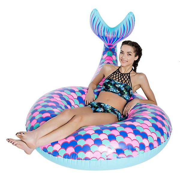 Mermaid Tail Pool Floats Large Outdoor Beach Floats Swimming Pool Floats Inflatable Mermaid Floating Swimming ring 180cm XHH7-1138