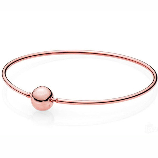 New 925 Sterling Silver Bangle Ball Clasp ESSENCE COLLECTION Rose Gold Bracelet Bangle Fit Women Bead Charm DIY Europe Jewelry