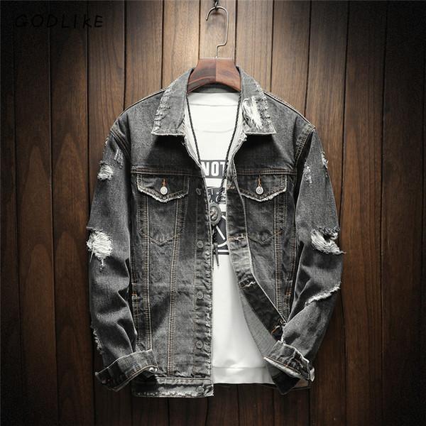 GODLIKE Nueva chaqueta de mezclilla para hombres para 2018./Moda casual para hombre, de manga larga, chaqueta de mezclilla vintage. D18101105