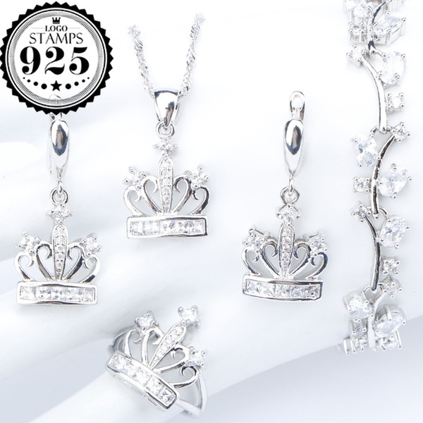 Crown White Zirconia Silver 925 Costume Jewelry Sets Necklace Bracelets Pendant Ring Earrings With Stones For Women Set Gift Box