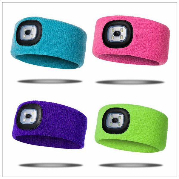 Rechargeable LED Flashing Headband Wrap Knitted Light For Outdoor Hunting Headlight Fishing Headband Party Favor CCA10321 60pcs