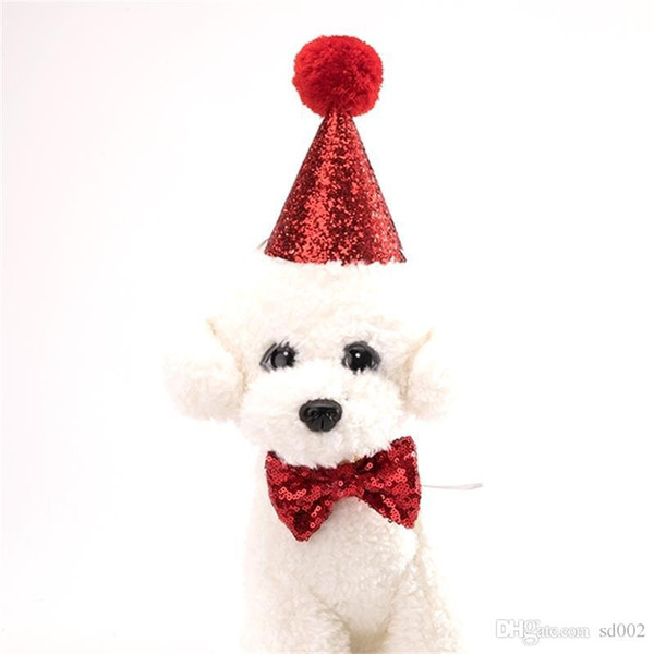 Pet Supplies Dog Collar Leashes Accessories Baby Birthday Party Christmas Hat Suit Dogs Decorate Necktie Costume Set 5ay ff