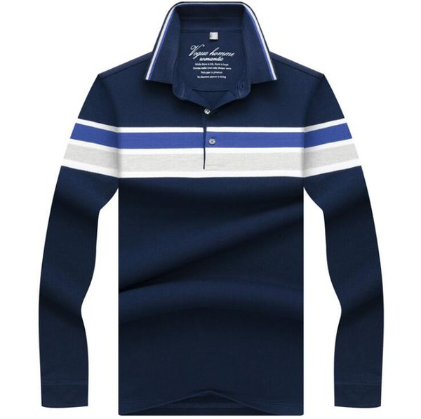 High Quality Embroidery Polo Shirt New Striped Men Polos Business Casual Mens Long Sleeve Polo shirt