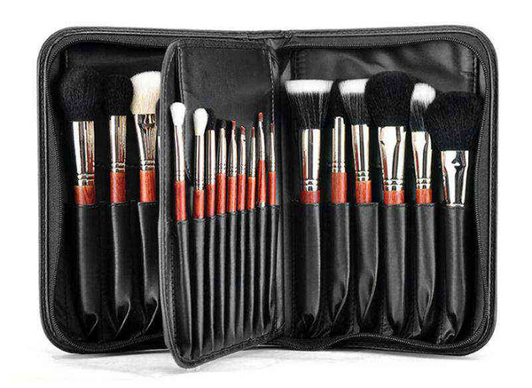 MSQ Professionelle Make-up Pinsel Set 29 Stück Make-up Pinsel Holz Farbe mit Ledertasche Kosmetik Make-up-Kits