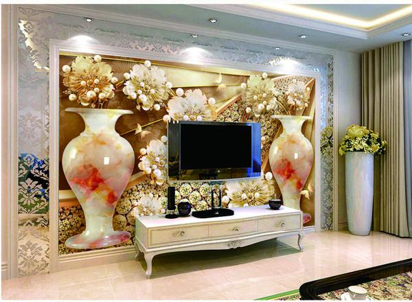 Varejo personalizado nove flores douradas dupla jade garrafa broca loja TV fundo decoração da parede mural