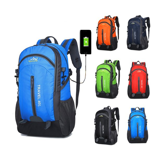 Outdoor Bags Multicolor 40L Large Capacity Waterproof Sports USB Backpack Mobile Phone Charging Travel Bags for Men and Women