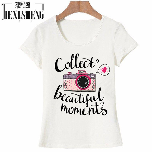 Wholesale- vogue Letter camera Printed t shirt women Summer Tops Tees cotton Short Sleeve brand fashion round neck tshirt HH244