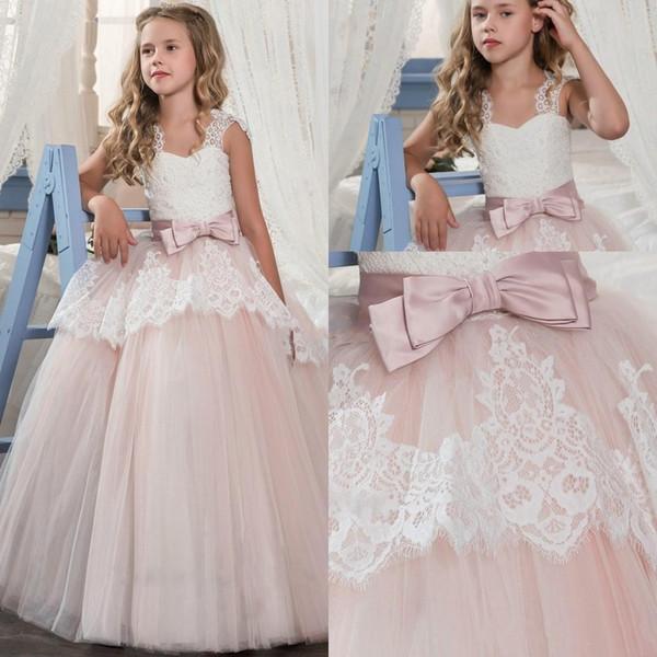 Compre Vestidos De Princesa Para Niñas De Flores Para Bodas Encaje Sheer Neck Girl Vestidos Del Desfile Con Marco De Arco Vestidos Baratos De Comunión