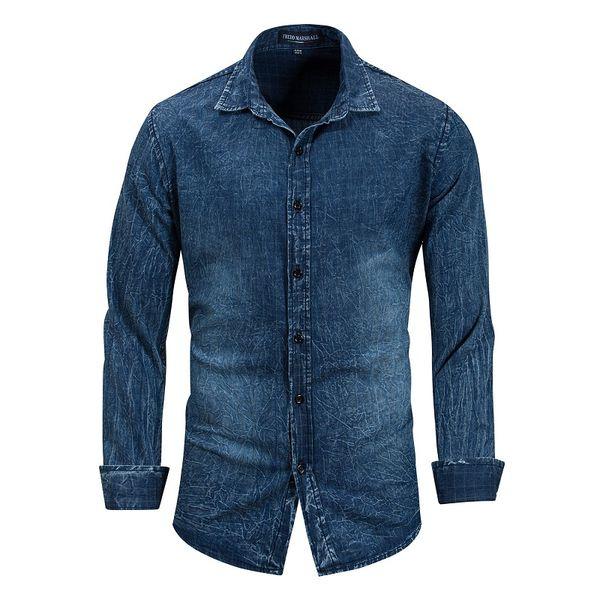 7d5a9063b264b Большой Размер Мужские Рубашки С Длинным Рукавом Джинсовые Повседневные Рубашки  100% Хлопок Топы Отложным Воротником