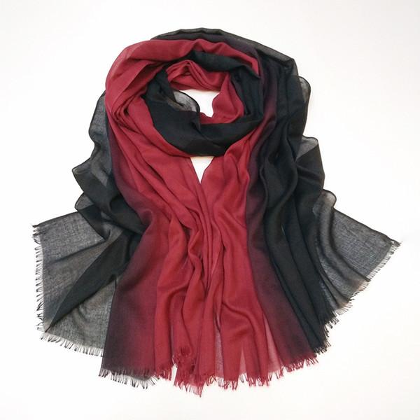 100*180cm 14 Colors Artificial Silk Gradient Designer Scarf Women Hijab Shawls Pashmina Wrap Scarf Table Blanket Beach Towel