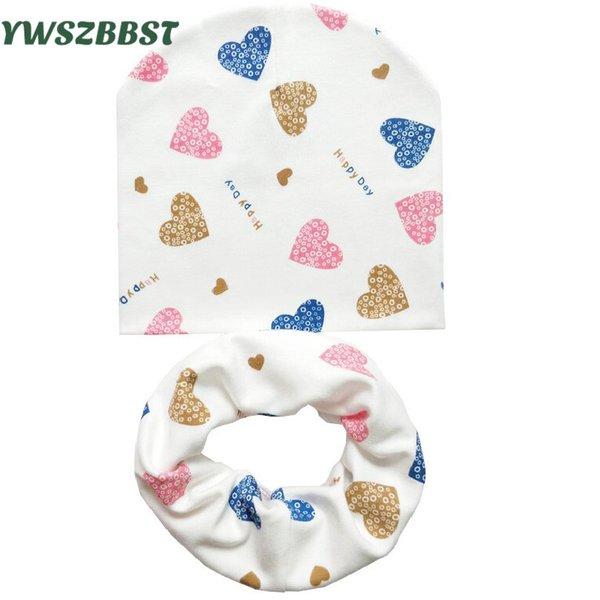 Детские Hat Детские шапки Кун шарф Baby Beanies Love Heart Печать Весна Осень Дети Hat Шарф Set Девочки Шляпы Фото реквизит