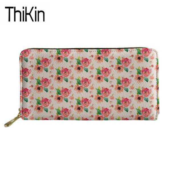 Thikin Long PU Leather Purse Women Floral Phone Wallets Ladies Fashion Flower Printing Cash Holders Feminine Cluth Money Bag