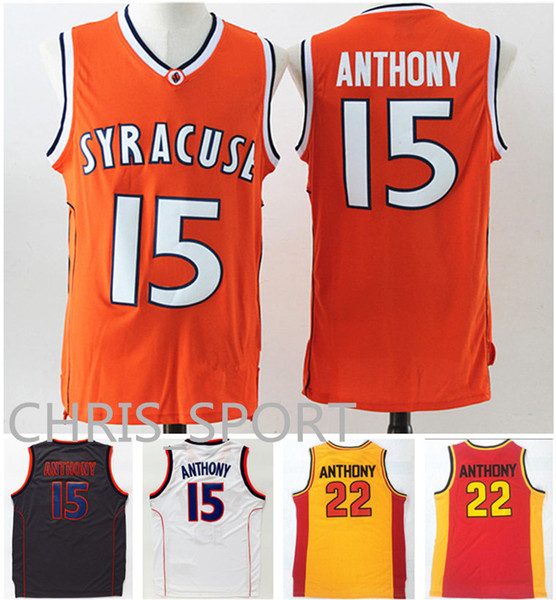 Syracuse College Basketball Jerseys #15 Carmelo Anthony Oak Hill high school #22 University game uniform