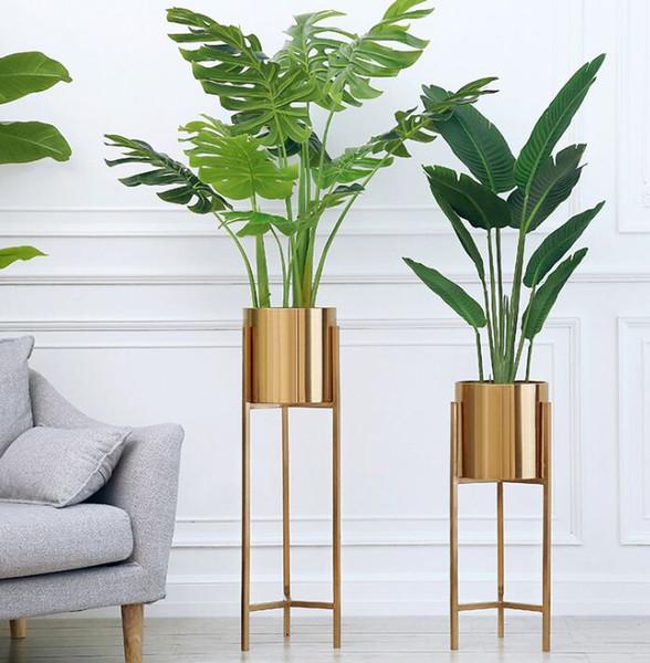Zemin Vazolar Avrupa İşlevli Metal Çiçek Vazo Altın Geometrik Şekil Yol Kurşun Çiçek Tutucu Ev Dekorasyon Hediye için