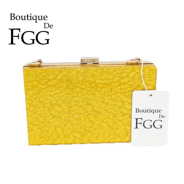 Boutique De FGG Mode Frauen Gold Tag Kupplungen Handtasche Acryl Abend Party Abendessen Geldbörse Box Clutch Chains Umhängetasche Y18103004