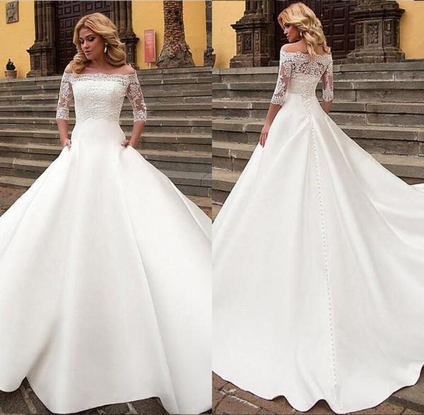 Abiti da sposa bianchi eleganti A-Line off spalla manica corta in pizzo Appliques Sexy Back Button abito da sposa abiti da sposa di Charme