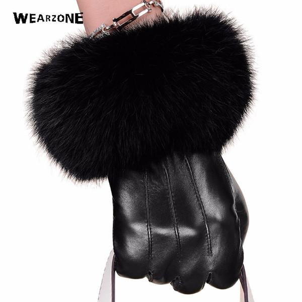 Winter black sheepskin Mittens Leather Gloves For Women Rabbit Fur Wrist Top Sheepskin Gloves Black Warm Female Driving