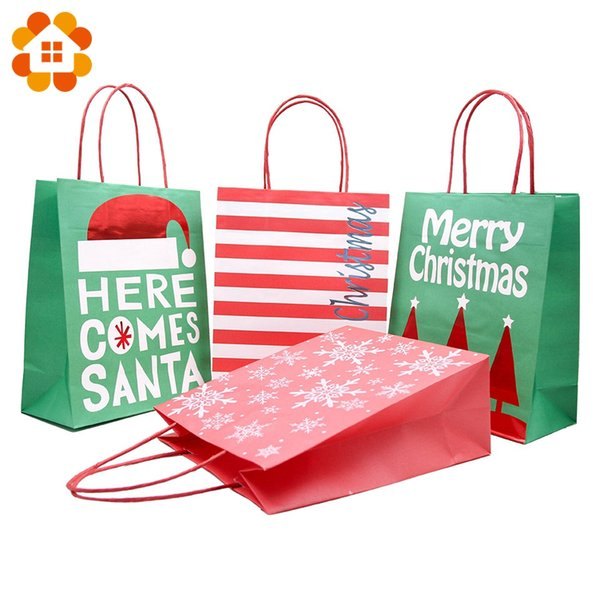1PCS Colorful High Quality Cute Cartoon Printed Kraft Paper Bags Christmas Festival Party DIY Candy Gifts Bag Decor Supplies