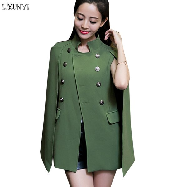 LXUNYI 2018 Autumn Winter Cape Trench Coat Women Double Breasted Feminine Coat Pockets Slim trenchcoat vrouwen Black Army Green