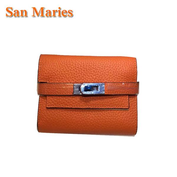 San Maries Damen Kuh Leder Damen Geldbörsen Portfolio Luxury Brand Designer Geld Tasche Cuzdan Walet Pocket Girls